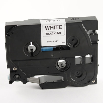 Brother Compatible TZ221 P-Touch Label Tape  3/8 Black on White